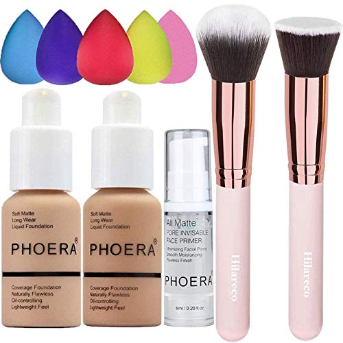 PHOERA Foundation 104 and 105 & Face Primer,Liquid Full Coverage Foundation Set,Foundation Brush Powder Brush,5 Makeup Sponge,30ml PHOERA 24HR Matte Oil Control Concealer (Buff Beige #104)(Sand #105)