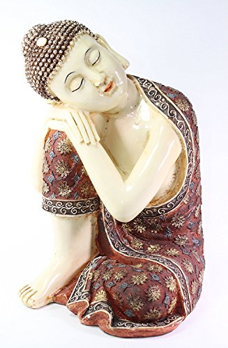 We pay your sales tax Feng Shui 14' Large Aged Red Resting Meditating Buddha Figurine Peace Thai Statues(G16525)