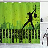 Ambesonne Popstar Party Shower Curtain, Music in The City Theme Singer with Electric Guitar on Grunge Backdrop, Cloth Fabric Bathroom Decor Set with Hooks, 70' Long, Green Black
