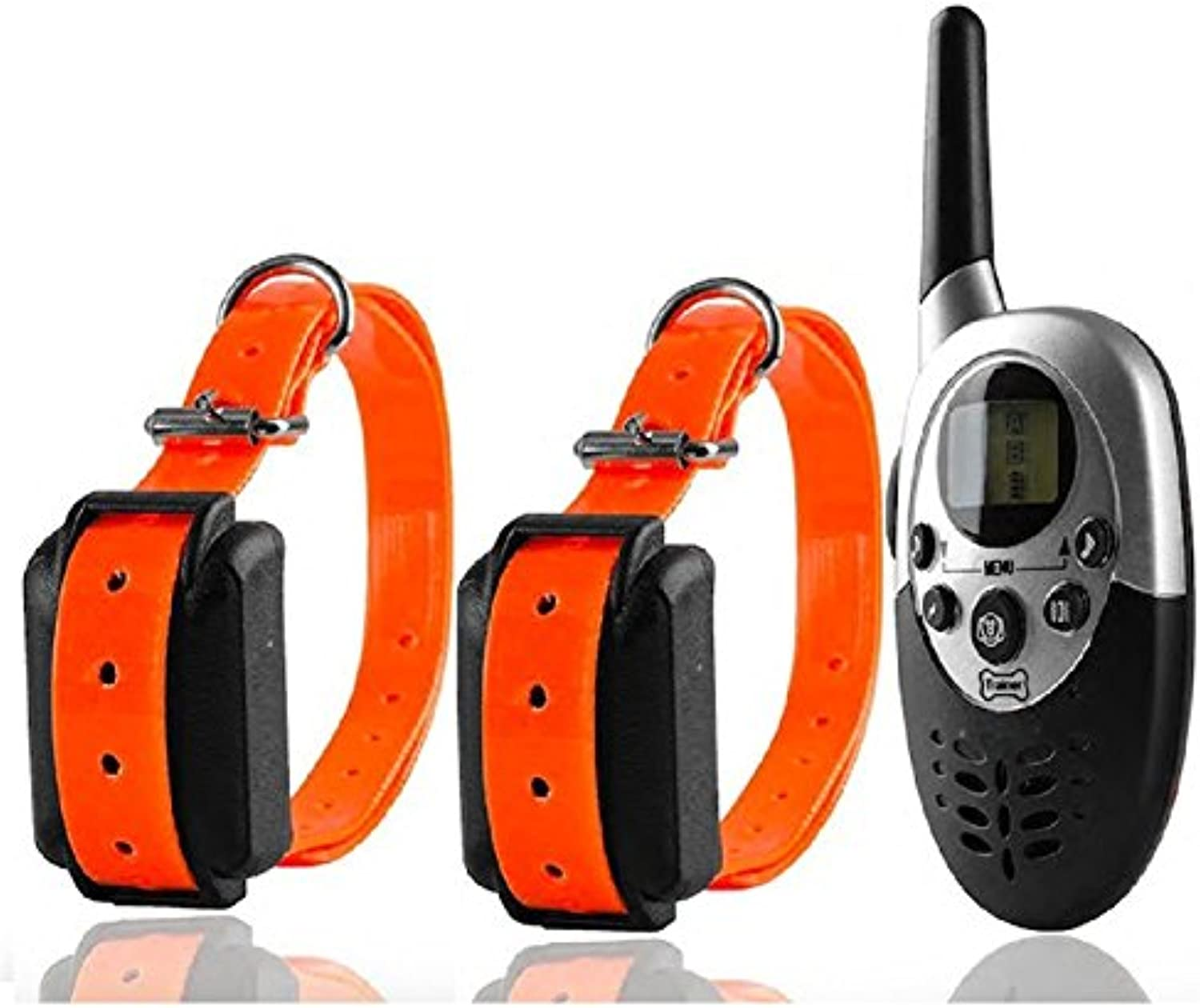 SAATAN Remote Dog Training Electric Collar pet Dogs Shock Training Collar Waterproof Rechargeable LCD Remote for Two 2 Dogs
