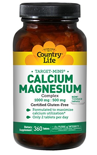 Country Life Target-Mins - Calcium Magnesium Complex, 1,000 mg/500 mg per 2 Tablets - 360 Tablets