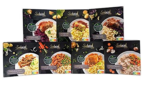 Kräftig-deftig Paket - verschiedene Fertiggerichte für die Mikrowelle / Wasserbad - haltbare Lebensmittel - keine Versandkosten - Südwind Lebensmittel
