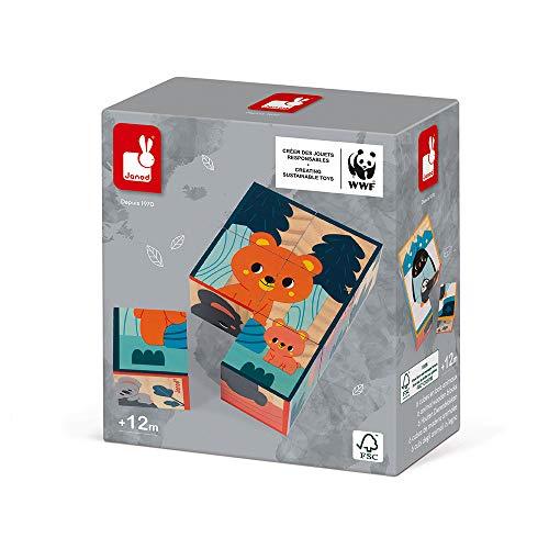 Janod - Puzzle Enfant Cubes en Bois Animaux - Jouet d'Eveil et Premier Age - Jeu Educatif - Apprentissage Observation et Coordination - Partenariat WWF®- Certifié FSC® - Dès 1 an, J08622