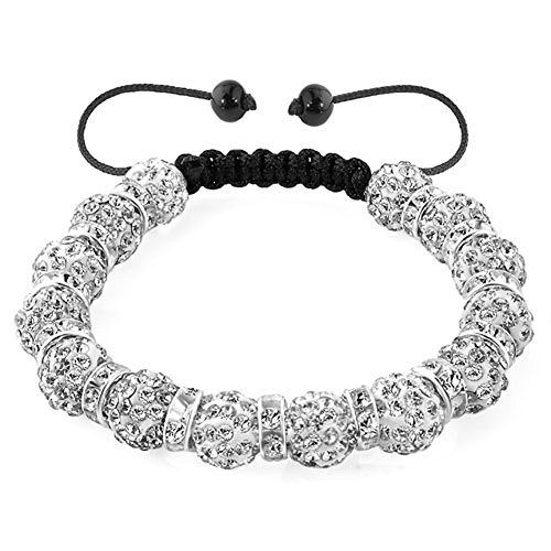 LilyJewelry Bracelet Adjustable with 10mm Discoball Beads (White)