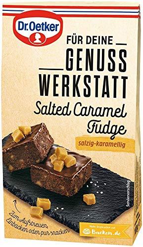 Dr. Oetker Genuss Werkstatt Salted Caramel Fudge 100 g – als Topping zum Aufstreuen oder zum Einbacken ist Salted Caramel Fudge mit dem Geschmack von gesalzenem Karamell Toffee vielseitig einsetzbar