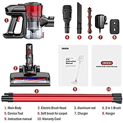 Stick Vacuum Cleaner,Powerful Cleaning Lightweight Handheld Cordless Vacume Cleaners with Rechargeable Lithium Ion Battery ONSON Cordless Vacuum Cleaner