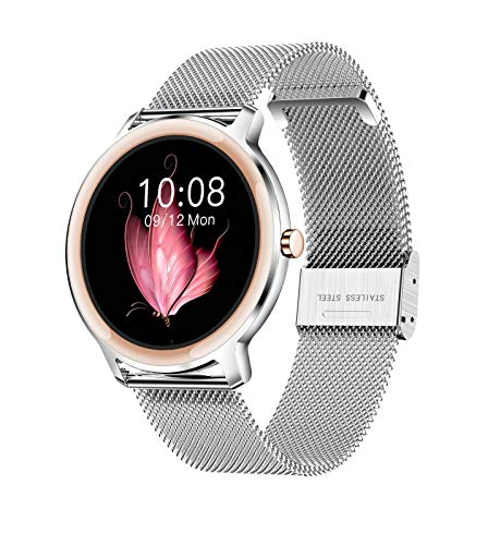 Smart Watch R18, Reloj Inteligente A Prueba De Agua con Pantalla Táctil Redonda IP68 para Mujeres, Rastreador De Ejercicios con Podómetro De Frecuencia Cardíaca Y Sueño, Pulsera para iOS/Android (di