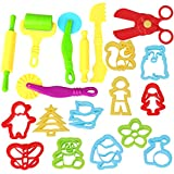 Inxens Playdough Molds and Cutters Play Dough Tools Set with Scissors Set of 19