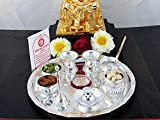 GoldGiftIdeas Upasana Silver Plated Pooja Thali Set with Free German Silver-Coin and Chandan, 8-inch(Silver)