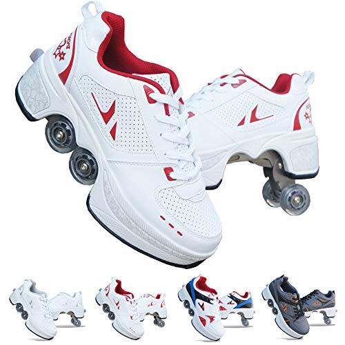 Patines de Ruedas Deformables, Zapatos con Ruedas, Zapatillas Informales de Deformación, Patines para Caminar, Hombres y Mujeres, Patines Fugitivos de Cuatro Ruedas,Red-EU33/UK1