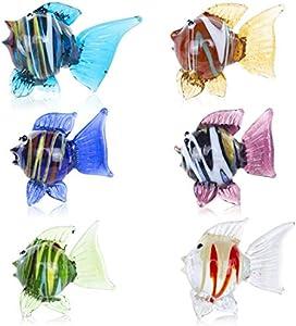 HDCRYSTALGIFTS Juego de 6 peces tropicales soplados de cristal para decoración de mesa, regalo coleccionable