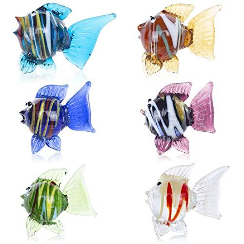 HDCRYSTALGIFTS - Set di 6 pesci tropicali in vetro soffiato per la casa, decorazione da tavolo, idea regalo