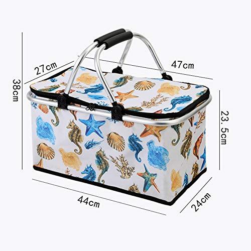 Natural Basket,Outdoor Picnic Basket Folding Insulated Basket Shopping Basket ice Pack-C,Shopping Box