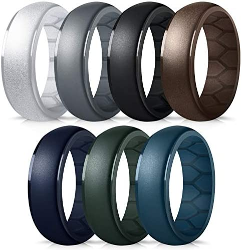 Forthee Silicone Wedding Ring for Men Breathable Airflow Inner Curve Mens Rubber Wedding Engagement product image