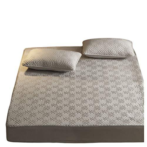 Kuncg Klassisches Rutschfester Spannbetttuch - Erhältlich in 5 Modernen Muster und 8 Verschiedenen Größen (Grau Matze-M,150 * 200 cm)