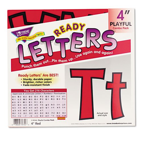 """Ready Letters Playful Combo Set, Red, 4""""""""h, 216/Set, Sold as 216 Each"""