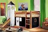 SixBros. Cama alta cama de juego con torre y tobogán pino maciza...