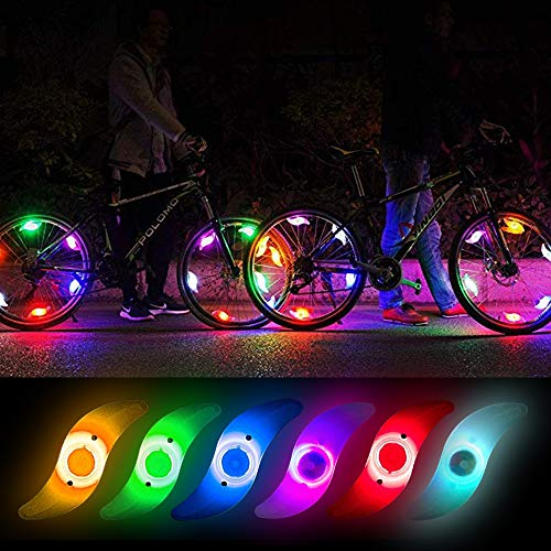 Teguangmei 6pcs LED Luz de Radios de Bicicleta,Luces de Neón a Prueba de Agua con 3 Modos de Parpadeo,Luces de Irradiación de Ruedas de Bicicleta Fáciles de Instalar Para Adultos y Niños, Multicolor