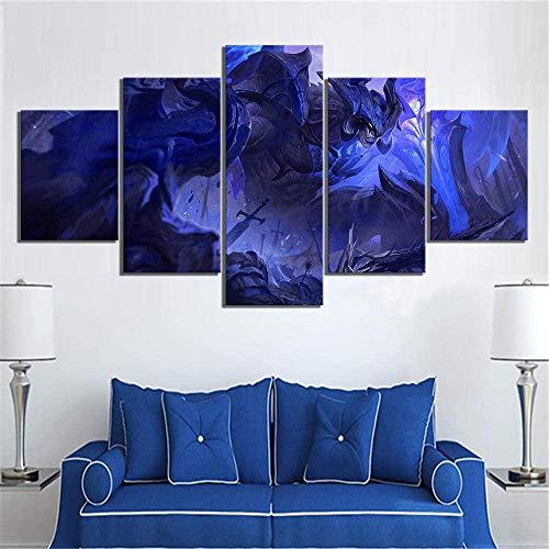 NC56 5 Stück Leinwand Malerei Drucke auf Leinwand Home Wandkunst Dekor HD-Druck Poster Dekor Modulares Bild Aatrox The Darkin Blade