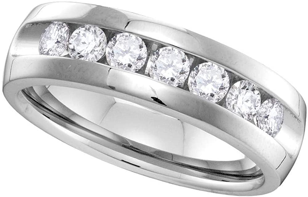 Saris and Things 14kt White Gold Round Be super welcome Set Machine Mens Max 64% OFF Diamond