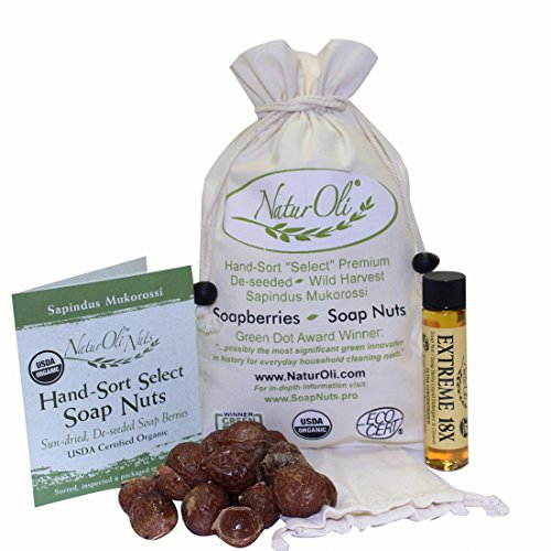 NaturOli Soap Nuts/Soap Berries- 1/2-Lb USDA ORGANIC (120 loads) + 18X Travel Bottle (12 loads) Seedless. Organic Laundry/Natural Cleaner. Processed in USA!