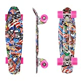 TubyTime 22'' Skateboard Complete Mini Cruiser, Retro Board for Kids Teens Beginners, Lightweight Elastic Plastic Panel for up to 220Lbs Rider, Commuting Street Riding Tool
