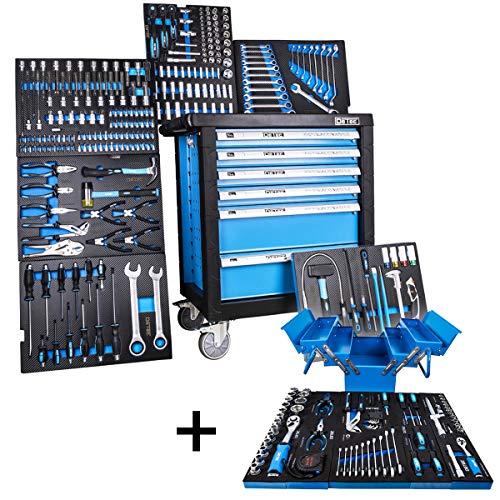 DeTec. 3066 Werkstattwagen bestückt 6/6 Schubladen inkl. DeTec. Klapp-Werkzeugkasten (Tragbare Werkzeugkiste | Werkzeugwagen Einleger mit Carbon-Optik)