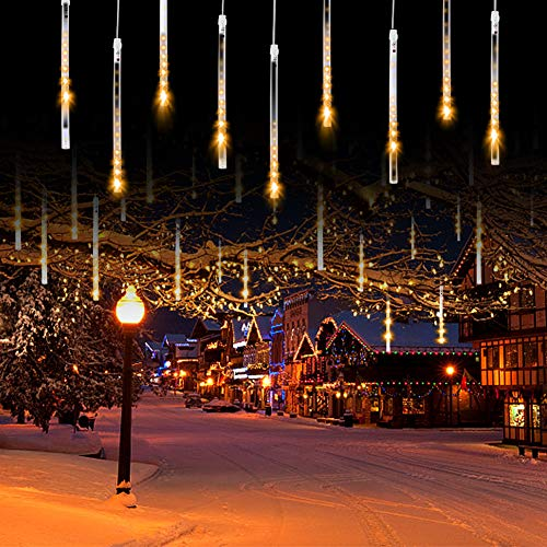 Cobbe Meteor Shower Lights, Led Icicle Lights, Falling Raindrop Christmas Lights, Waterproof Cascading Lights for Holiday Party Wedding Christmas Tree Decoration Upgraded