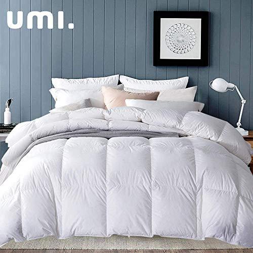Amazon Brand - Umi Edredón de plumón de Pato 225x220cm-cama 135,Tejido 100% algodónen,100% Antideslizante, edredón de plumón hipoalergénico según Oeko-Tex STANDARD100(Blanco,4 Estaciones)