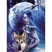 フルダイヤモンド刺繡オオカミの女の子5DDIYダイヤモンド絵画風景クロスステッチモザイクラインストーンの写真家の装飾セール