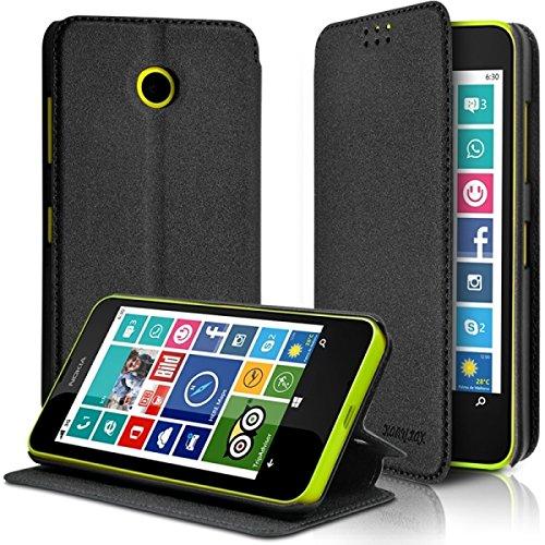 KARYLAX Seluxion - Coque Etui à Rabat Latéral Fonction Support Couleur Gris Anthracite pour Nokia Lumia 635 + Film de Protection