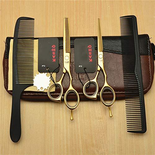 Ysss Ciseaux de Coiffure en Or à Une Queue de 5,5 Pouces Ciseaux Plats Ciseaux de Coupe de Cheveux Ciseaux Bangs Cut Set