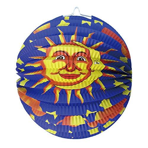 Idena 30229 - Lampion Sonne, Mond und Sterne, Durchmesser 26 cm, Laternenumzug, St. Martin, Dekoration
