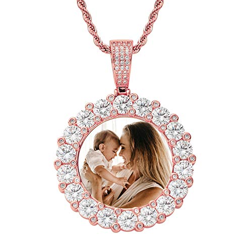 Personalized Photo Charm Necklace Fashion Hip Hop Pendant Necklace Unique Birthday Mother's Day Anniversary Jewelry Necklace for Women Men Rose Gold Round4-20'(50cm)