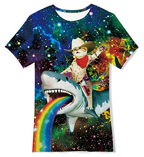 Jubestar 3D Space Cat Graphics Print T-Shirts for Kids Boys Girls Funny Short Sleeve Tee 10-12 Years Rainbow