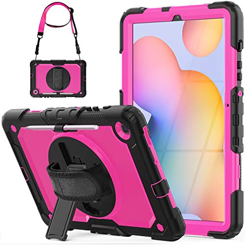 SEYMCY Case for Samsung Galaxy Tab S6 Lite 10.4'' 2020, SM-P610/P615 Case, Shockproof 360 Degree Rotating Stand Strap Case with Screen Protector/Pen Holder for 10.4 inch Galaxy Tab S6 Lite,Black/Pink
