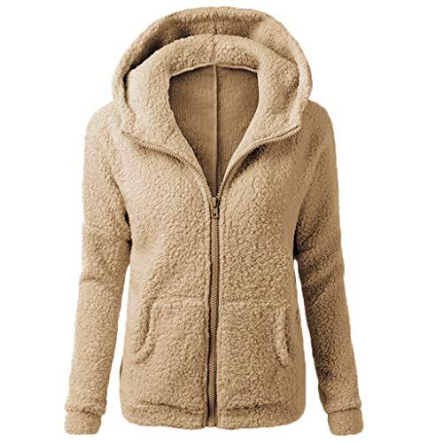Chaqueta Mujeres de Invierno de Lana Cálida Cremallera Abrigo con Capucha Casual Suéter Abrigo de Algodón Outwear Hoodie riou