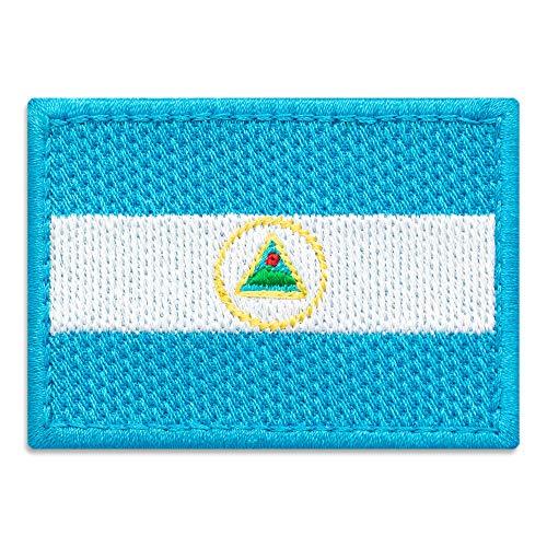 Parche de la bandera del país de Nicaragua, emblema nacional, bordado para planchar (2,8 x 2 cm)