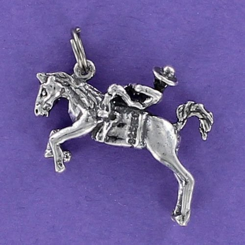 Horse Bucking with Rider Charm Sterling Silver for Bracelet Rodeo Wild Bronco Jewelry Making Supply, Pendant, Charms, Bracelet, DIY Crafting by Wholesale Charms