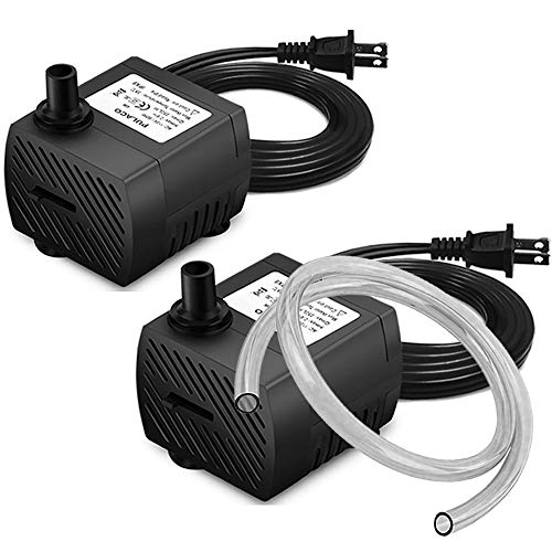 PULACO 2 Pcs Mini Submersible Water Pump (95GPH 5W) for Aquarium Fish Tank, Pond, Fountain, Hydroponics