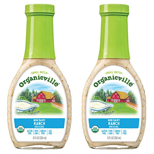 Organicville Non-Dairy Ranch Dressing, 8 Ounce, 2-Pack (USDA Organic, Non GMO, Whole30 Approved, Gluten Free, Vegan)