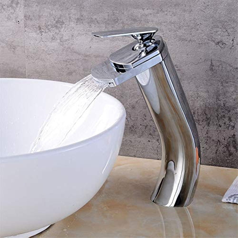 Wasserhahn Küche Waschbecken Badezimmer Wasserhahn Warmes und kaltes Wasser Weithals Einhebel Messing Wasserfall Waschbecken Wasserhahn für Badezimmer Küchenarmatur