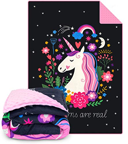 Moonstone Weighted Blanket for Kids - 5 lbs Child-Friendly Weighted Blanket in Minky Duvet Cover (Unicorn)