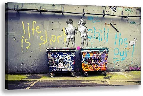 Orlco Art Banksy Graffiti Art Abstracto lona pintura pósteres e impresiones imágenes Life is Short Chill The Duck Out Wall Canvas Art Home Decor 61 x 91 cm