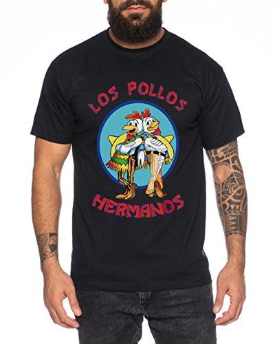 WhyKiki Los Pollos Herren T-Shirt Hermanos Bad Heisenberg Breaking, Schwarz, XXL