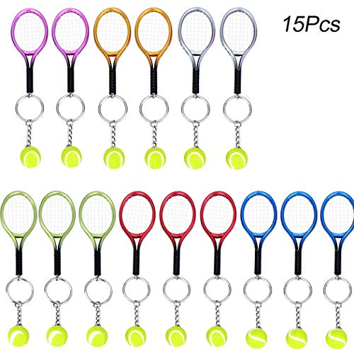 15Pcs Mini Tennis Racket Keychain Key Ring, Creatiee Fashionable Alloy Tennis Ball Split Ring, Sport Style Split Keychain Sport Lovers Gift Prize Set - Exquisite & Lightweight(Assorted Colors)