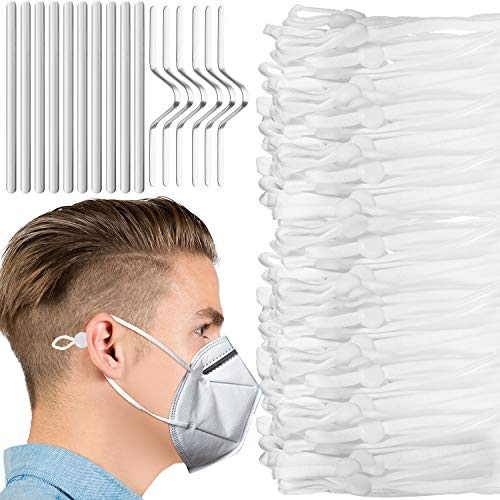 200 Pieces Elastic Bands with Adjustable Buckle Adjustable Elastic Ear Loops Band Strap for Sewing Elastic Cord Stretch DIY Ear Band Loop (White Cord)
