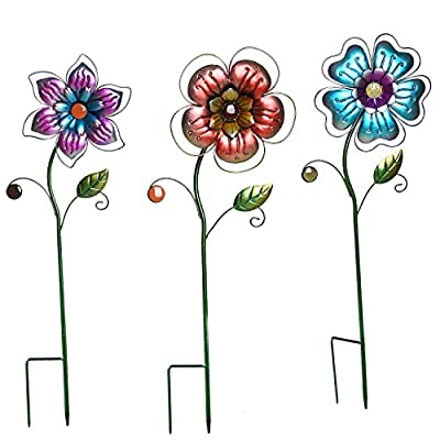 Garden Stake Outdoor Plant Pick Cute Metal Flower Stick Art Ornament Decor Lawn Yard Patio,3 Set