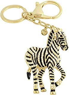 Crystal keychain Horse - Black and gold