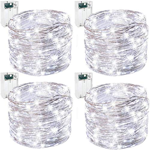 Led Fairy String Lights, [4 Pack]50 LED Copper Wire Battery Operated Micro String Lights LED Twinkle Waterproof Lights for Bedroom, Christmas, Party, Wedding Outdoor Indoor Decor (Cool White)